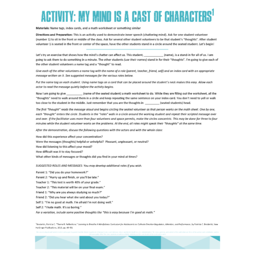 Cast of Characters Activity