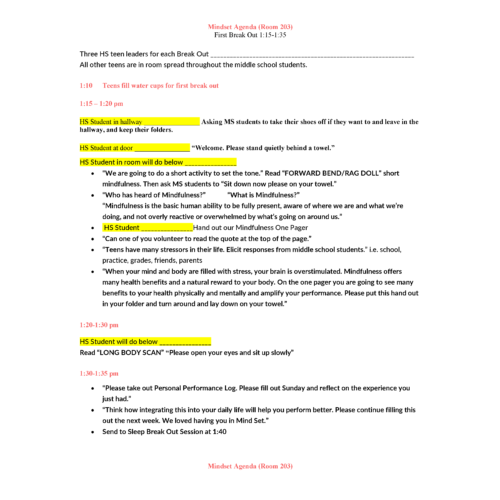 Example Mood and Mindset Lesson Plan