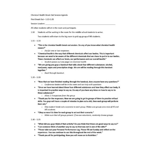 Chemical Health Example Lesson Plan