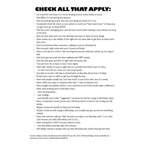 Sleep Checklist