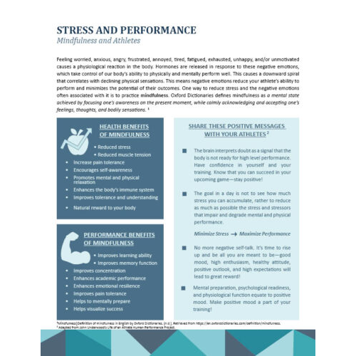 Stress and Performance for Athletes
